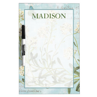 Add Your Name | Blue Botanical Dry-Erase Board