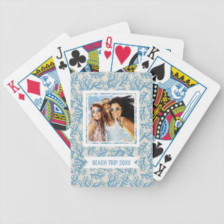 Add Your Name | Blue Coral Pattern | Monogram Bicycle Playing Cards