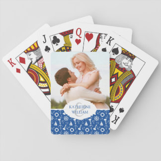 Add Your Name | Blue Sea Pattern Playing Cards