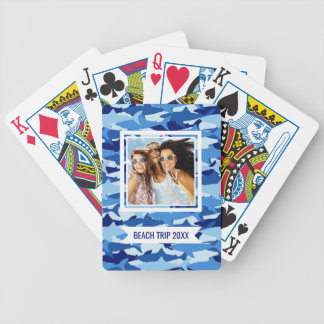 Add Your Name | Blue Shark Pattern | Monogram Bicycle Playing Cards
