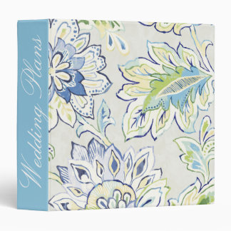 Add Your Name | Bohemian Blue Flower 3 Ring Binders