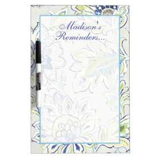 Add Your Name | Bohemian Blue Flower Dry Erase Board