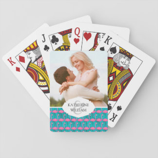 Add Your Name | Bright Flamingo Pattern Playing Cards