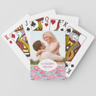 Add Your Name | Bright Pink Flamingos On Blue Playing Cards