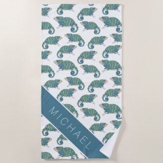 Add Your Name | Chameleon Pattern Beach Towel