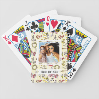 Add Your Name | Cute Beach Scene Pattern Bicycle Playing Cards