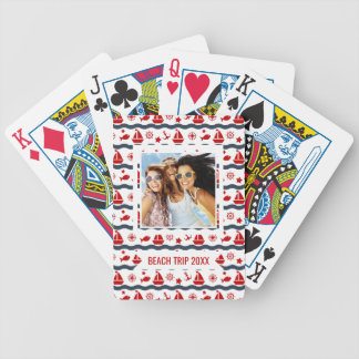 Add Your Name | Cute Maritime Pattern Bicycle Playing Cards