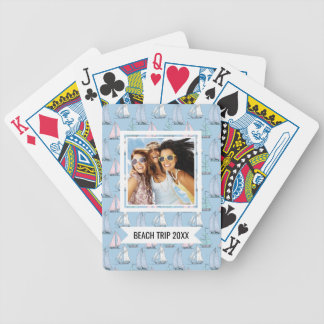 Add Your Name | Cute Sailboat Pattern | Monogram Bicycle Playing Cards