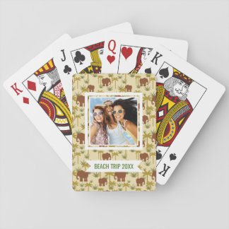 Add Your Name | Elephants And Palms In Camouflage Playing Cards