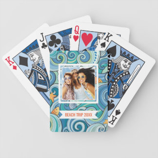 Add Your Name | Fish Among The Waves Pattern Poker Deck