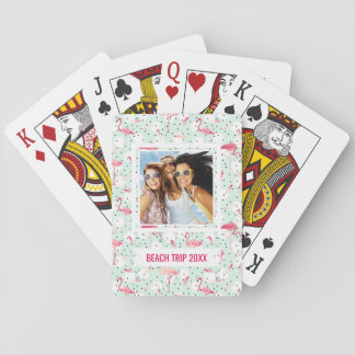 Add Your Name | Flamingo Bird With Feathers Playing Cards