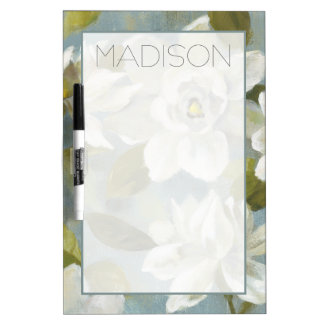 Add Your Name | Gardenias on Slate Blue Dry-Erase Boards