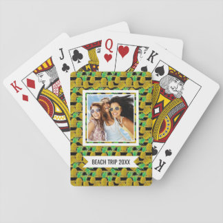 Add Your Name | Golden Pineapples On Stripes | Playing Cards