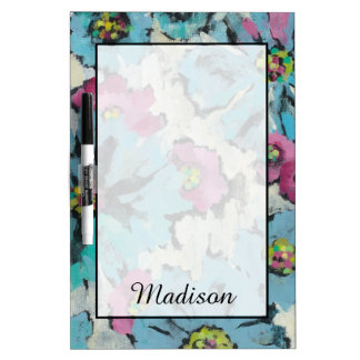 Add Your Name | Graphic Pink and Blue Floral Dry-Erase Whiteboard