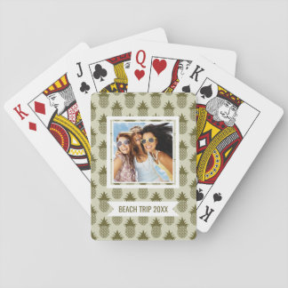 Add Your Name | Khaki Pineapple Pattern Playing Cards