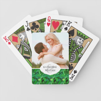 Add Your Name | Leaves Of Tropical Palm Trees Bicycle Playing Cards