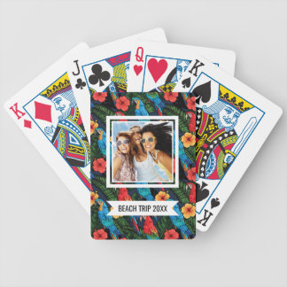 Add Your Name | Macaw And Hibiscus Pattern Bicycle Playing Cards
