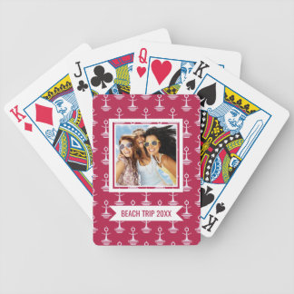 Add Your Name | Modern Anchors Pattern Bicycle Playing Cards