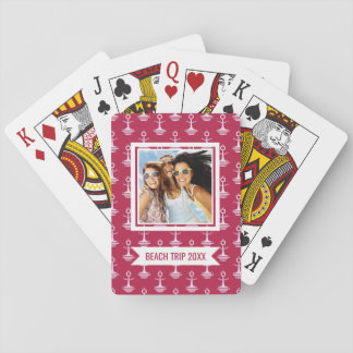 Add Your Name   Modern Anchors Pattern Playing Cards