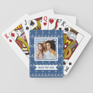 Add Your Name | Nautical Knit Pattern Playing Cards