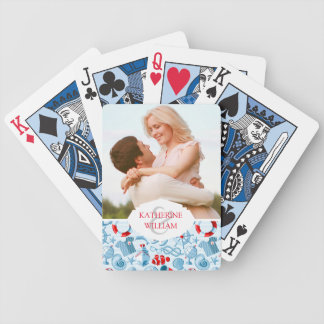 Add Your Name | Nautical Red White And Blue Bicycle Playing Cards