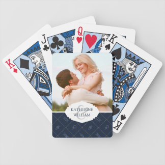 Add Your Name   Nautical Rope Knot Pattern Bicycle Playing Cards