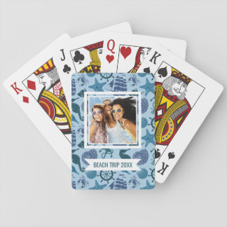 Add Your Name | Nautical Shades Of Blue Pattern Playing Cards