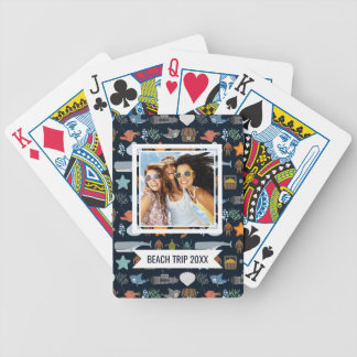 Add Your Name | Ocean Inhabitants Pattern Bicycle Playing Cards