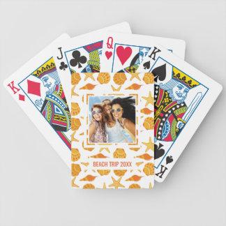 Add Your Name | Orange Beach Shell Pattern Poker Deck