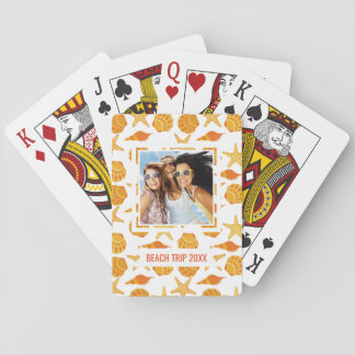 Add Your Name | Orange Beach Shell Pattern Poker Deck