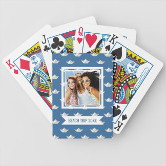 Add Your Name   Origami Boats On The Water Pattern Bicycle Playing Cards