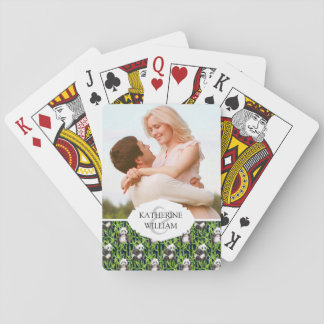 Add Your Name | Panda With Bamboo Watercolor Patte Playing Cards