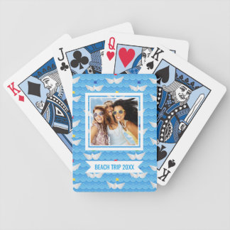 Add Your Name   Paper Boats Sailing On Blue Patter Bicycle Playing Cards