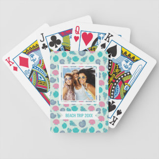Add Your Name | Pastel Seashell Pattern Bicycle Playing Cards