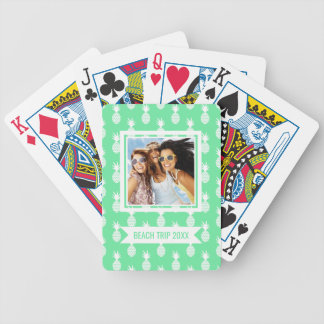 Add Your Name | Pineapple Mint Pattern Bicycle Playing Cards