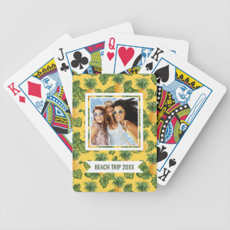 Add Your Name | Pineapples & Tropical Leaves Bicycle Playing Cards