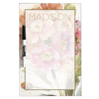 Add Your Name | Pink and Orange Primrose Dry-Erase Board