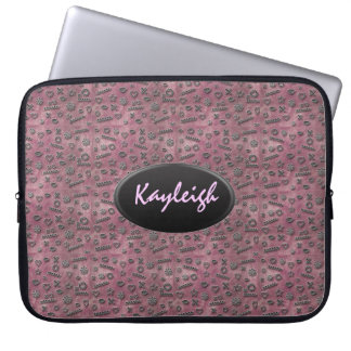 Add Your Name Pink Designer Laptop Sleeve