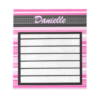 Add Your Name Pink Stripes Notepad