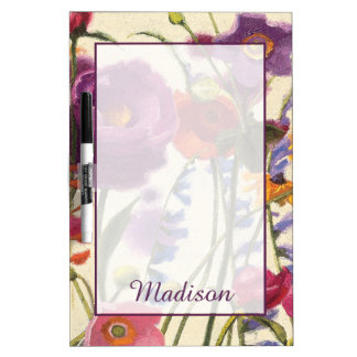 Add Your Name | Purple and Orange Poppy Melody Dry Erase Board
