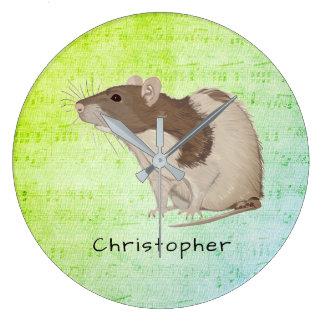 Add Your Name Rat Design Large Clock