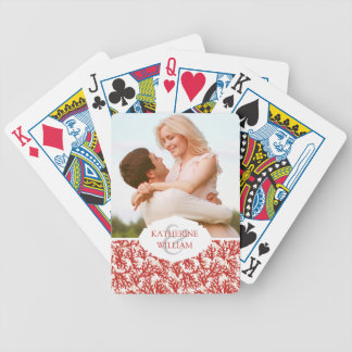 Add Your Name | Red Coral Pattern Bicycle Playing Cards