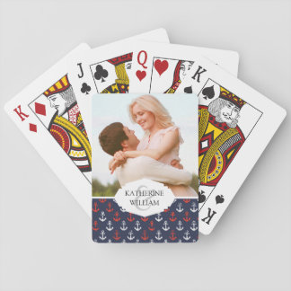 Add Your Name | Red White And Blue Navy Pattern Playing Cards