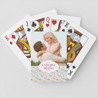 Add Your Name | Retro Flamingo Pattern Playing Cards