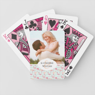 Add Your Name | Retro Flamingos On Mint Stripes Bicycle Playing Cards