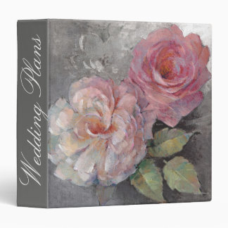 Add Your Name | Roses on Gray 3 Ring Binders