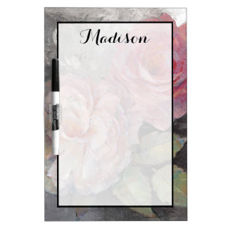 Add Your Name | Roses on Gray Dry-Erase Boards