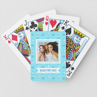 Add Your Name | Sailboats On The Blue Sea Pattern Poker Deck