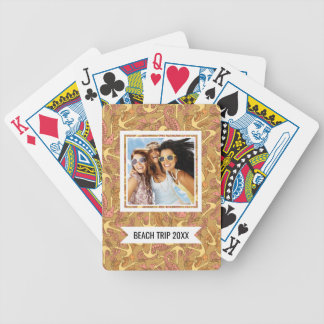 Add Your Name | Sketchy Seahorse & Anchor Pattern Bicycle Playing Cards