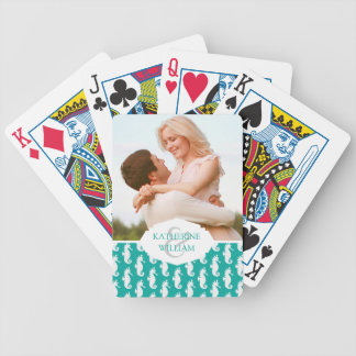 Add Your Name | Teal Seahorse Pattern Bicycle Playing Cards